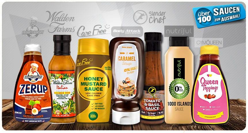 Vielseitige Auswahl an Saucen günstig kaufen in Deutschland! Zero Zucker, Low Carb, Low Fat für einen gesunden Fitness Lifestyle