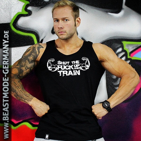 Beastmode Maenner TankTop Shut The Fuck Up and Train Vorne