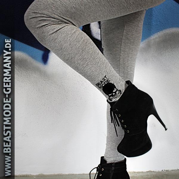 Beastmode Damen Leggings Grau Knöchel