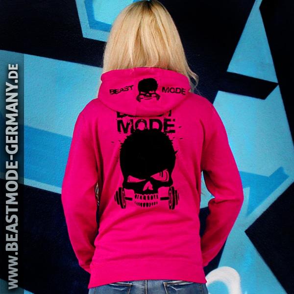 Beastmode Damen Fitness Hoodie Pink Hinten mit Kapuze unten