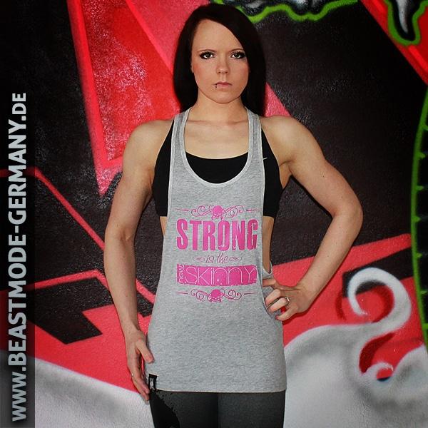 Beastmode Damen Stringer TankTop Grau Pink Strong Skinny Vorne
