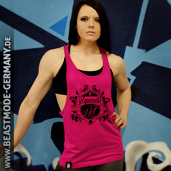 Beastmode Damen Stringer TankTop Pink Squats to look hot Vorne