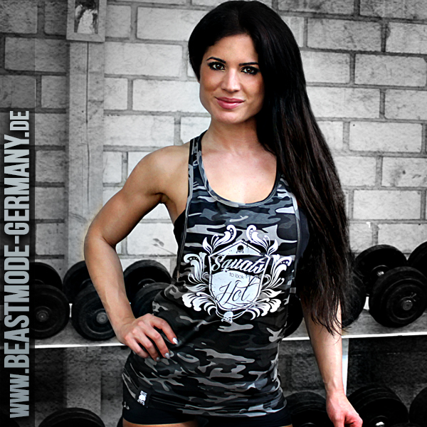 Beastmode Damen Stringer TankTop Camouflage Squats to look hot Front