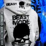 Beastmode Damen FitnessHoodie Grau Druck
