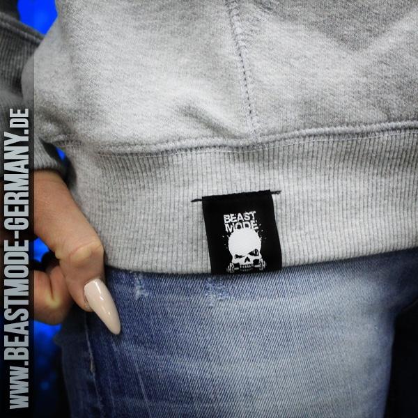 Beastmode Damen FitnessHoodie Grau Etikett