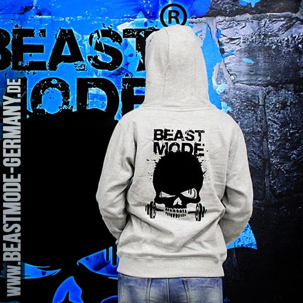 Beastmode Damen FitnessHoodie Grau Hinten