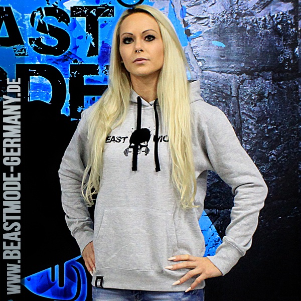 Beastmode Damen FitnessHoodie Grau Front