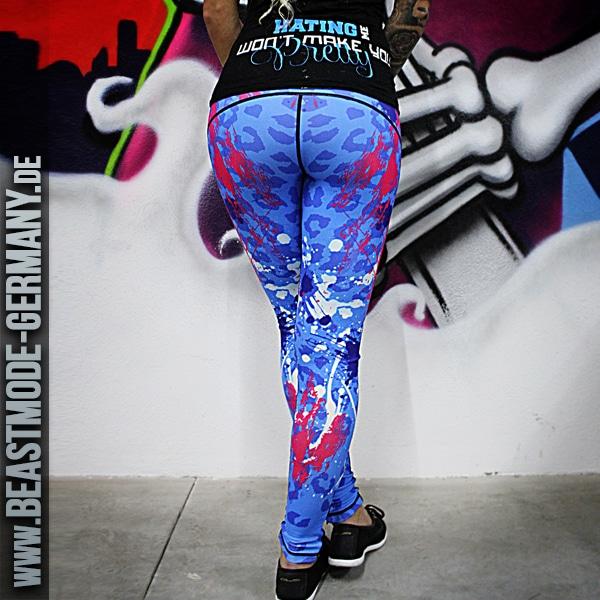 Beastmode Damen Leggings ColorSplash Hellblau Pink Hinten