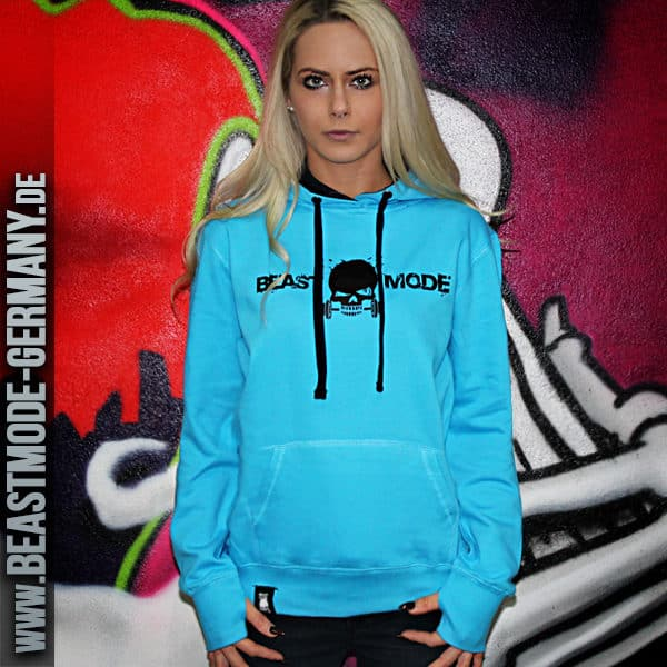 Laufschuhe Billiger Preis feinste Auswahl Damen Fitness Hoodie Türkis - Beastmode Germany Shop