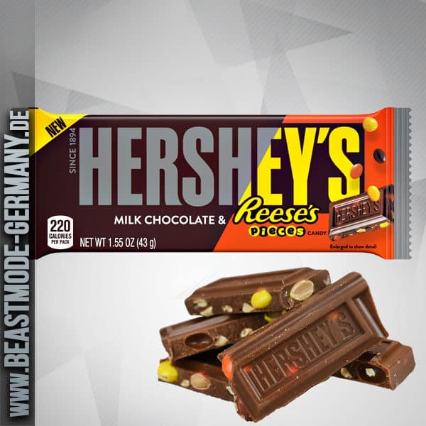 Hersheys Milk Chocolate With Reeses Pieces Candy Bar 43g